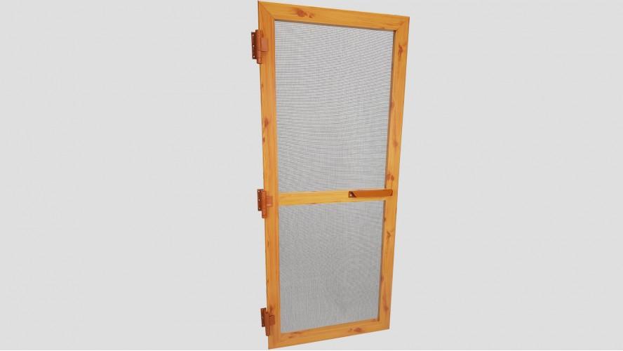 Alumínium nyíló keretes szúnyogháló ajtó (Világosfa/Festett)